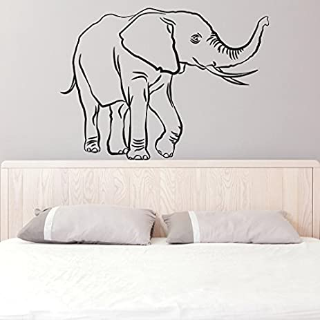 47 x 34 vinyl wall decal lucky elephant trunk up african