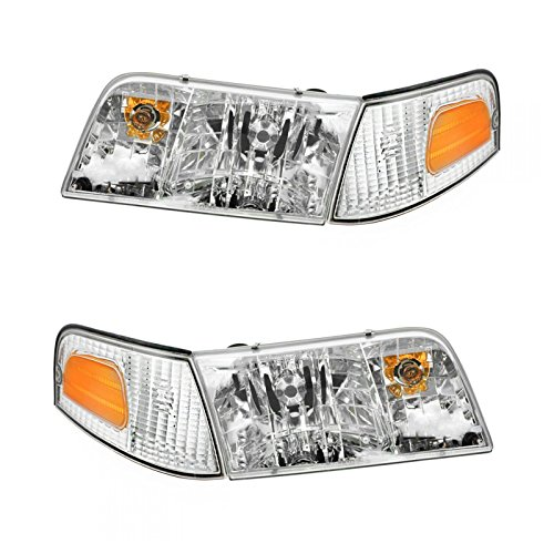 Headlights Headlamps & Corner Parking Lights Kit Set for 98-11 Crown Victoria