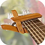 guitar made in usa - Adjustable Bamboo Capo ~ 1x Real Wooden Guitar Capo Handmade in NJ, USA ~ Steel, Classical, Ukulele, Banjo, Accessory Guitarist Gift