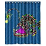 Electric Angler Fish Unique Print Shower Curtains 60' by 72'