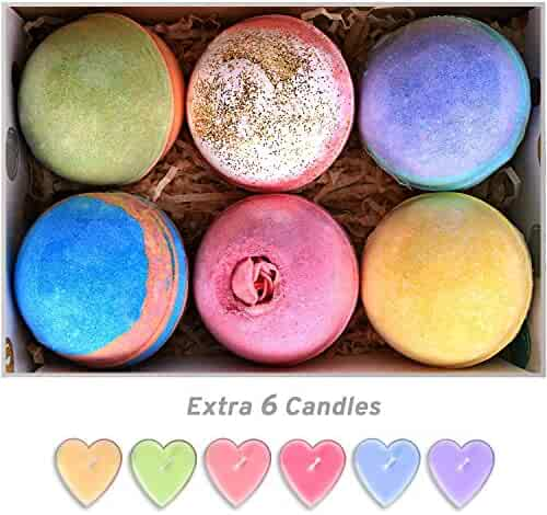 Bath Bombs Gift Set Huge 5Oz Bath Bombs, Natural Vegan and Handmade, Assorted Bath Fizzies Including Candles (6 Bath Bombs)