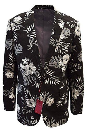 SILVERSILK MEN'S FANCY COTTON JACKET- FLORAL PRINTS DESIGN (4XL, BLACK) - Exclusive Single Breasted Jacket