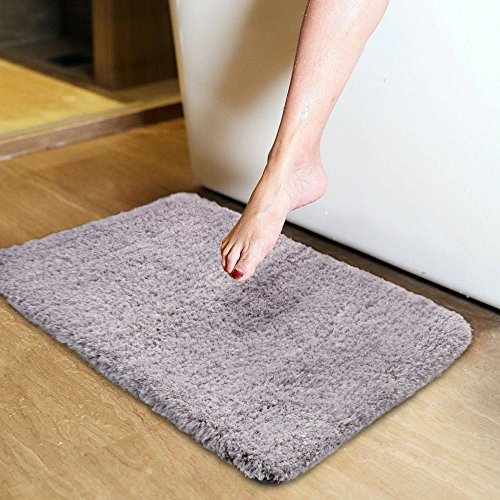 Light Coffee Cozy Shag Bathroom Rug, Uphome 17''W x 24''L Microfiber Soft Shaggy Non-slip Soft Absorbent Decorative Bath Mat Floor Carpet by Uphome
