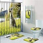 Bathroom 5 Piece Set shower curtain 3d print Multi Style,Alaskan Malamute,Klee Kai Puppy Sitting on Grass Looking Up Friendly Young Cute Animal Decorative,Multicolor,Bath Mat,Bathroom Carpet Rug,Non-S 8