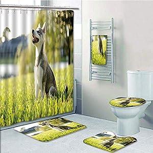 Bathroom 5 Piece Set shower curtain 3d print Multi Style,Alaskan Malamute,Klee Kai Puppy Sitting on Grass Looking Up Friendly Young Cute Animal Decorative,Multicolor,Bath Mat,Bathroom Carpet Rug,Non-S 26