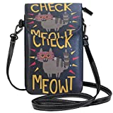 SLHFPX Women Small Crossbody Shoulder BagCheck MeowtLeather Cell Phone Purse Handbags