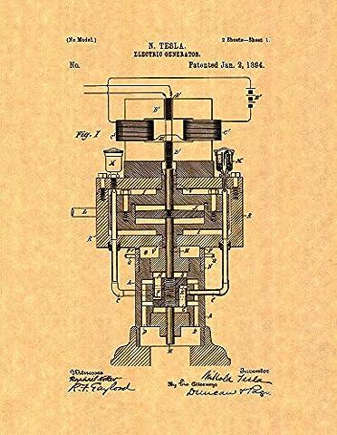 Tesla Electric Generator Patent Print Art Poster (11
