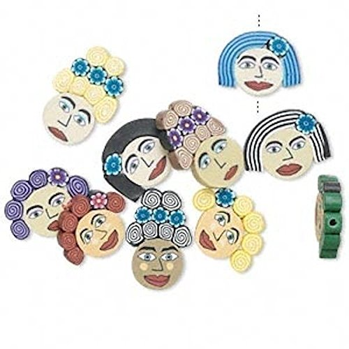 10 Polymer Clay Multi Colored Women Lady's Face Beads for Je