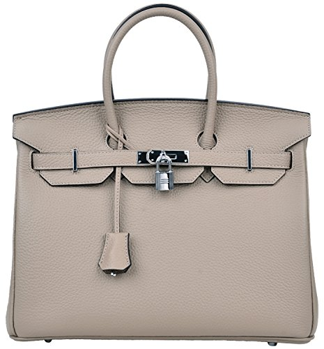 Cherish Kiss Women's Padlock Handbag Genuine Leather Top Handle Bag with Silver Hardware (35CM with Silver Hardware, Taupe With Pink Lining) by Cherish Kiss