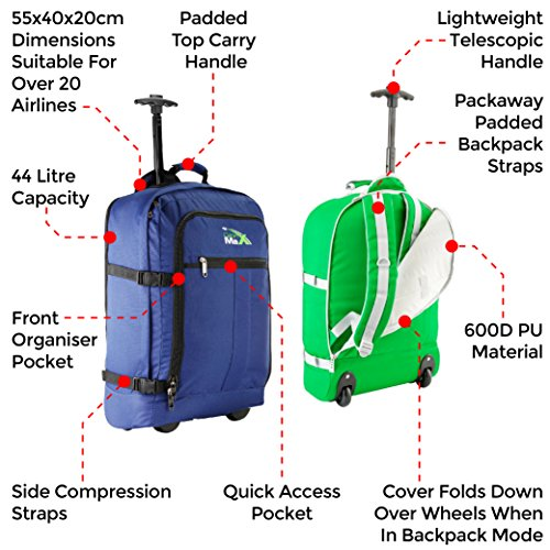 Backpack Hand Wheeled Photo on Flight Bag Approved Lyon Luggage Max 55x40x20cm Cabin Carry Trolley Postcards 44L XqYwPxHn