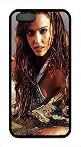 iPhone 5 5s Case, Slim Thin Shockproof Jessica Alba IP5 Case fit for iPhone 5 5s Ultra Protective Back Rubber Cover Impact Protection for iPhone 5 5s (Black)