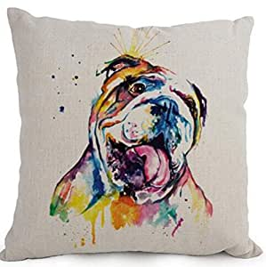 Cotton Linen Cartoon Lovely Animal Abstract Oil Painting Adorable Pet Dogs English Bulldog Throw Pillow Covers Cushion Cover Decorative Sofa Bedroom Living Room Square 18 Inches
