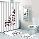 PRUNUSHOME 5-piece Bathroom Set-Includes Shower Curtain Liner,dance school Decorate the bathroom(Small)