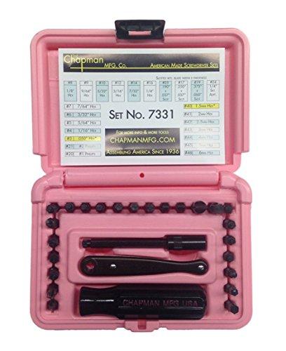 Chapman MFG #7331PINK Screwdriver tools Set SAE & Metric Allen Hex Set MADE IN USA by Chapman MFG