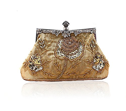 Evening Women's Purse Clutch Bopstyle Vintage Gold Sequin Rose Handbag Party Beaded Hf8P1qC