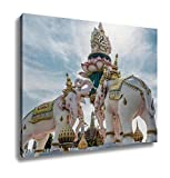 Ashley Canvas, Elephants Statue Lift Lotus To Praise King Of Thailand Grand Palace Landmark In, Home Decoration Office, Ready to Hang, 20x25, AG5255860
