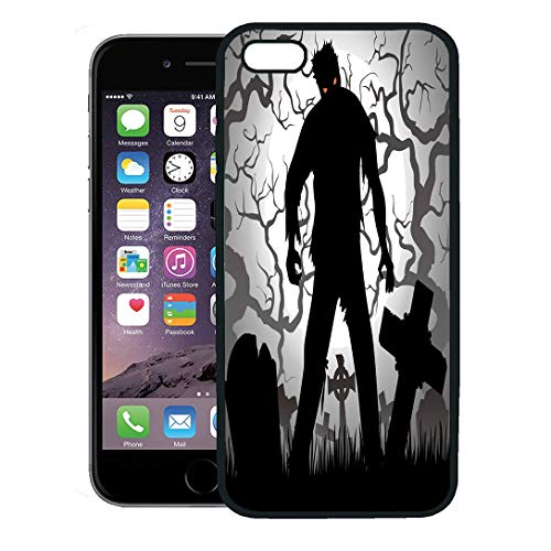 (Semtomn Phone Case for iPhone 8 Plus case,Monster Halloween Zombie Tree Tombstones and The Moon Cemetery Silhouette Horror iPhone 7 Plus case)