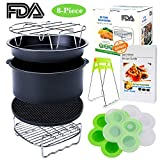 Air Fryer Accessories with Recipe Cookbook for Growise Phillips Cozyna Fit all Air Fryer 3.7QT 4.2QT 5.3QT 5.8QT Deep Fryer Accessories Set of 8
