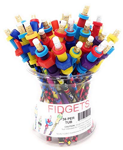 Fidget Pencil Toppers, Tub of 36 ()