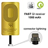 QI Receiver for IPhone 5- 5c- SE- 6- 6 Plus- 7- 7 Plus– YKing IPhone Wireless Receiver– QI Receiver– Charging Receiver - Lightning QI Wireless Receiver IPhone– QI Receiver Lightning