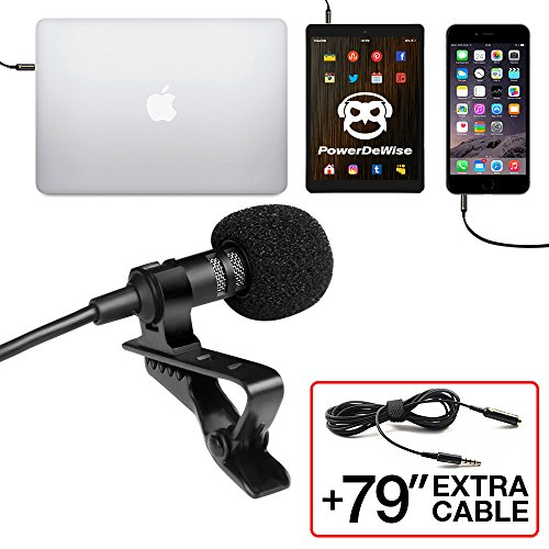 Professional Grade Lavalier Lapel Microphone ­ Omnidirectional Mic with Easy Clip On System ­ Perfect for Recording Youtube / Interview / Video Conference / Podcast / Voice Dictation / iPhone (Microphone Wireless Kit Lavalier)