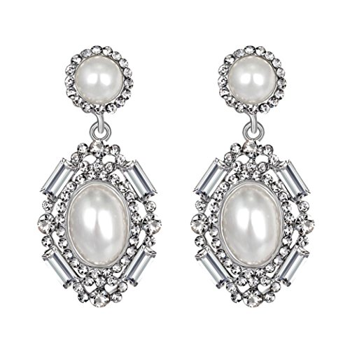 jinjiu Women's Earrings Clearance! 1 Pair Women Fashion Zircon Earrings Diamond-Encrusted Love Heart Earring for Girls Rhinestone Stud Earrings (White)