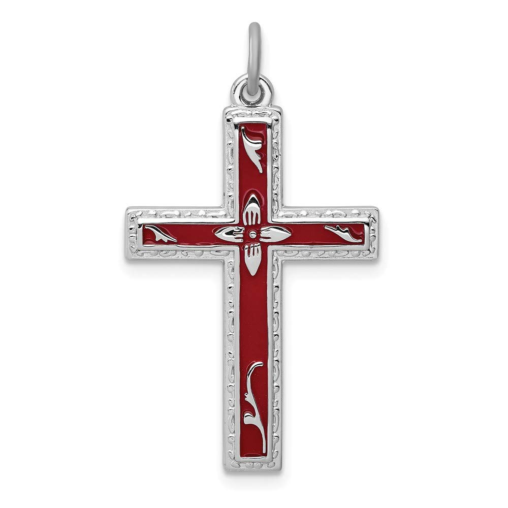 Jewelry Stores Network Red Cross Pendant in 925 Sterling Silver 29x18mm