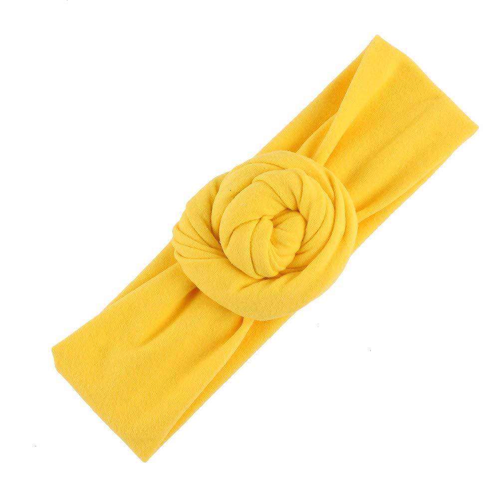 NUWFOR Cute Kids Girls Baby Toddler Turban Knot Headband Hair Band Accessories Headwear Yellow