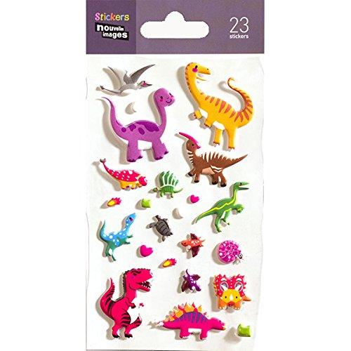 NOUVELLES IMAGES 75007490 Dinosaure Ensemble de 23 Mini Stickers Finition Matière Mousse Multicolore 14.49 x 7.8 x 0.1 cm