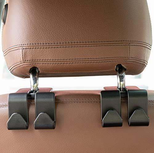 2 Sets of Four Hooks Headrest Hooks for Car, Car Purse Hook, Purse Holder for Car, Multifunctional Universal Car Headrest Hook Capable of Holding Mobile Phones
