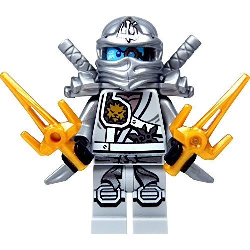The Golden Ninja (LEGO Ninjago Minifigure - Zane Titanium Ninja with Gold & Silver weapons)