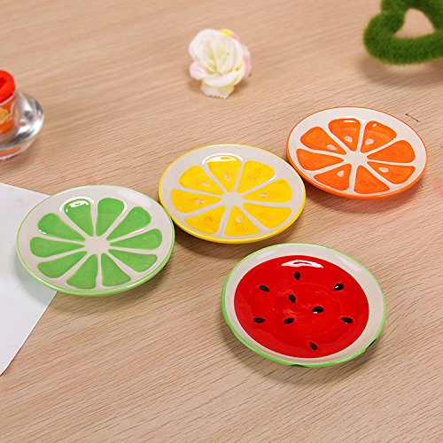 XDOBO 4Pcs Cute Fruit Pattern Ceramics Seasoning Dishes/Tea Bag Holders/Ketchup Saucer/Appetizer Plates/Vinegar Spice Salad Soy Sushi Wasabi Seasoning Dipping Bowls/Chili Oil by xdobo (Image #1)