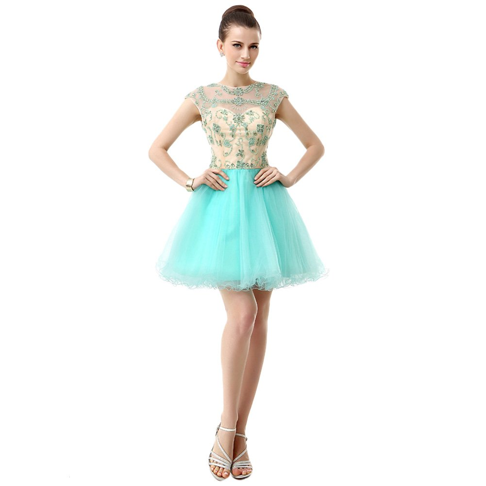 bluee BessWedding Women's A Line Scoop beads Sequins Short Prom Party Homecoming Dress