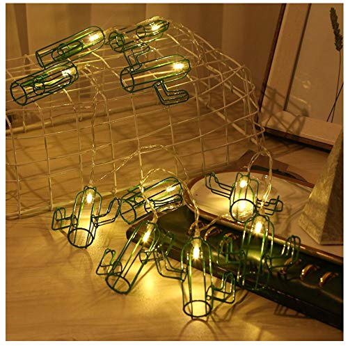(Cactus String Lights Battery Operated Metal String Lights Indoor Wedding Party Christmas Harvest Festival Wall Decoration 2 M 10 LEDs (Green))