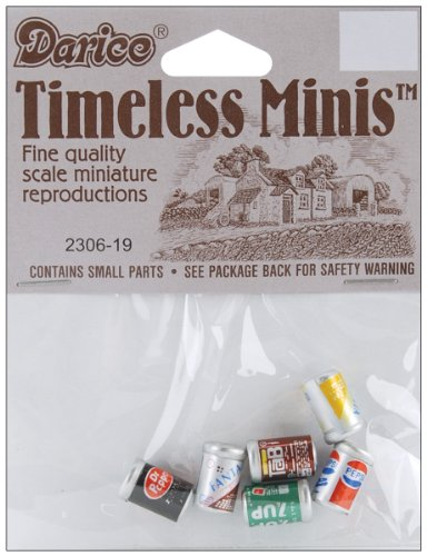 Darice 230619 Timeless Miniatures Assorted Soda Cans, Pack of 6, 0.3125 x 0.5-Inches,