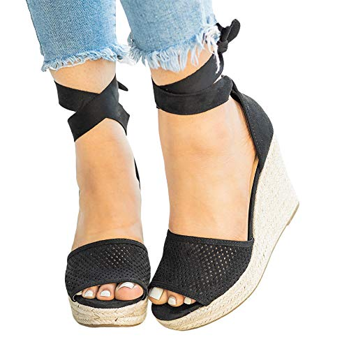 FISACE Womens Espadrille High Platform Wedge Sandals Open Peep Toe Ankle Strap Buckle Shoes
