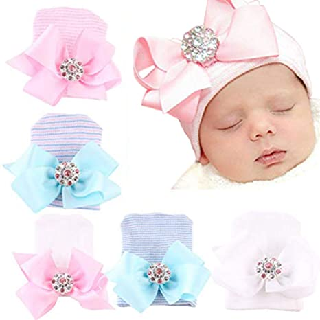 2ab812c02 Upeilxd Newborn Hospital Hat Infant Baby Hat Caps Bow/Hairball Soft Cute  Nursery Beanie Hat (5pack Rhinestone Bow / 0-6 Month): Amazon.in: Baby