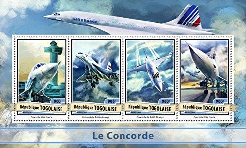 Jet Concorde (Togo - 2017 Concorde Passenger Jet - 4 Stamp Sheet - TG17115a)