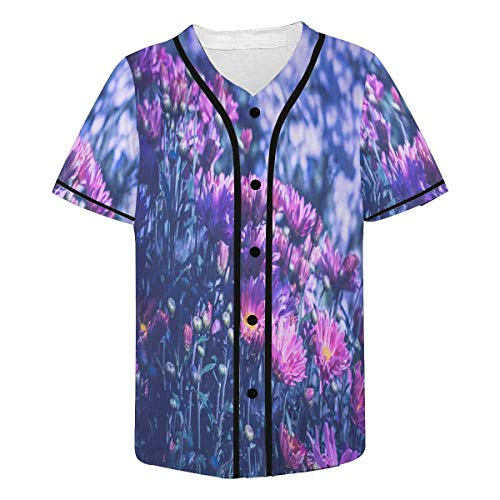 INTERESTPRINT Golden Daisy, Pink Chrysanthemum Bush in The Garden Baseball Jersey Button Down T-Shirt for Men XS