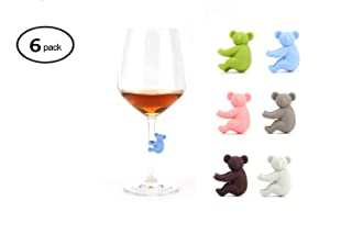 BESTONZON 6pcs Wine Glass Marker Silicone Glass Charms Wine Charms Cute Fish Drinking Glass Markers Drink Charms for Parties