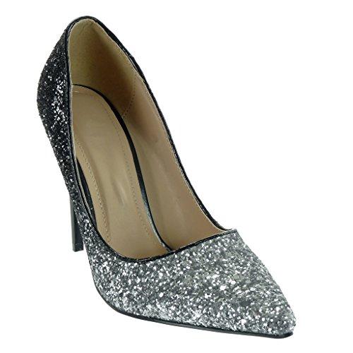 brillant femme Talon Noir Escarpin Chaussure pailettes decolleté 11 Angkorly stiletto CM Aiguille Mode qBCAwnx0