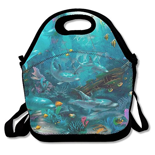 Sea Dolphin Fish Corals Underwater Turquoise Ocean Tropical Neoprene Lunch Bag Insulated Lunch Box Tote For Women Men Adult Kids Teens Boys Teenage Girls Toddlers (Black)