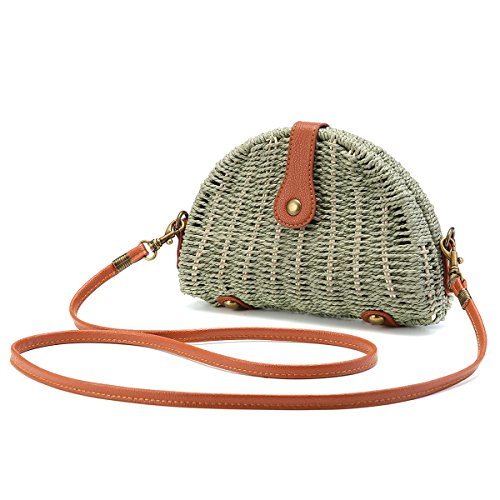 Crossbody Straw Bag, JOSEKO Womens Straw Handbag Shoulder Bag for Beach Travel and Everyday Use Green ()
