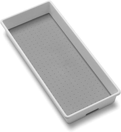 Amazon Com Madesmart Organizer Bin Non Skid Feet 15 5 X 6 6 X 2 1 Plastic White With Gray Home Kitchen