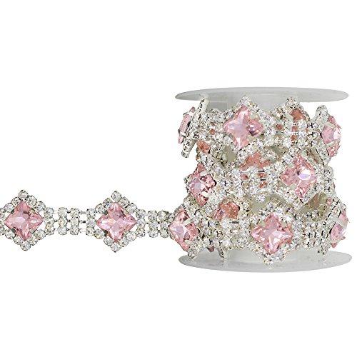 (XIAOTAI Rhinestone Trim 1 Yard Close Chain Pink Diamond Crystal Rhinestones for Crafts Clothes Bridal Belt Wedding Sash Exquisite Wedding and Easter Ideas)