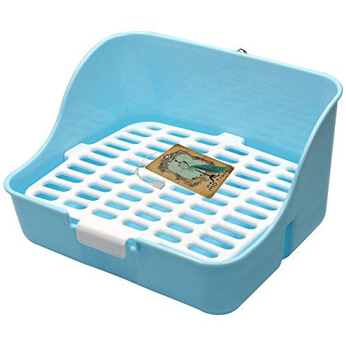 Md trade Square Potty Trainer Corner Litter Bedding Box Pet Pan for Small Animal/guinea pig/rabbit/falesaur/ferrets(blue)