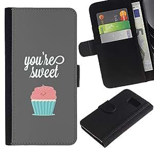 YiPhone /// Tirón de la caja Cartera de cuero con ranuras para tarjetas - ERES LA MAGDALENA DULCE PASTEL - Samsung Galaxy S6