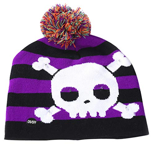 Benficial Colorful Halloween Pumpkin LED Light-up Knit Hat Beanie Hairball Warm Cap Gifts New