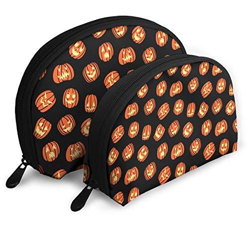 XILI-HUALA Halloween Scary Pumpkin Pattern Portable Shell Makeup Bags Cosmetic Bag Travel Storage Bags Toiletry Organizer]()