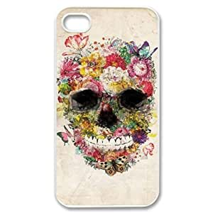 wugdiy Personalized Durable Case Cover for iPhone 4,4S with Brand New Design Beautiful flower skulls